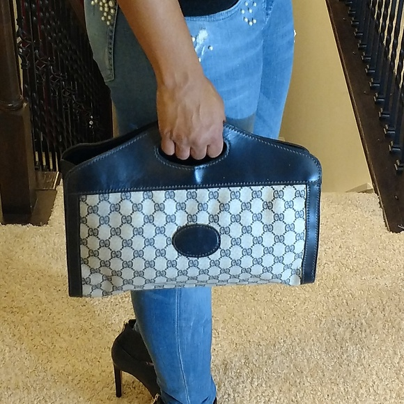 ac79525c45e7 Gucci Bags | Authentic Navy Blue Vintage Handbag Purse | Poshmark